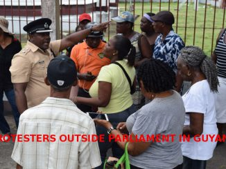 Protesters outside Guyanese Parliamen