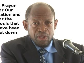Rt. Hon. Dr. Denzil Douglas says a prayer for a weeping nation