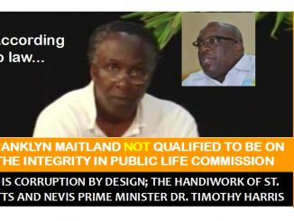 Maitland Not Qualified to be on Integrity Commission