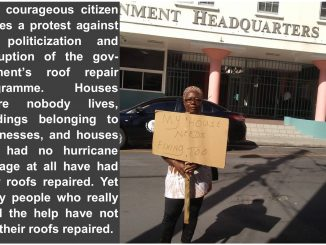Adolphine Woodley protests the governments roof repair programme.jpeg