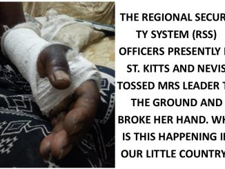 Mrs Leader was tossed to the ground by RSS Officers in St. Kitts