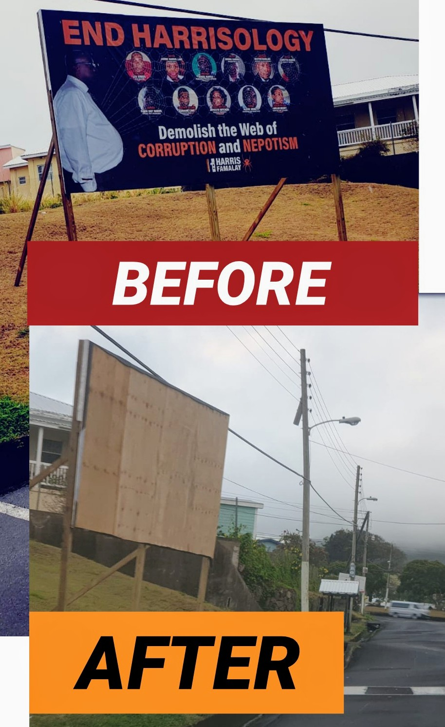 Labour Party Billboard Destroyed