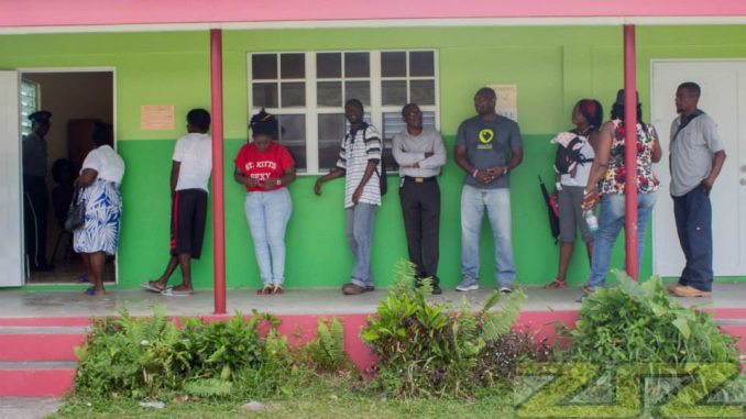 Voters outside polling station.