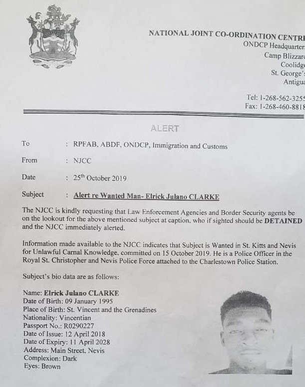 Image of police statement from Antiguan Police.